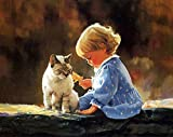 Baulody Kids and Cat -5D Diamond Rhinestone Pasted Embroidery Painting Cross Stitch Home Decor, Full Drill, Baulody Home Washroom Bedroom Office Wall Arts Stickers (Mutilcolor)