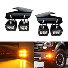 iJDMTOY Complete Amber 2500K 80W High Power CREE LED Fog Light Kit w/ Lower Bumper Mounting Brackets & Wiring Harness For 2010-2014 Ford SVT Raptor