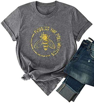 DRESSWEL damski letni t-shirt pszczoła grafika koszulki z krÓtkim rękawem okrągłe wycięcie pod szyją top z ochraniaczem The POLLINATORS list Duck koszulki gÓrna część top