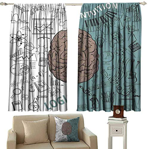 (Kids Room Curtains Modern Brain Image with Left and Right Side Music Logic Artwork Side Science Print White Teal Umber Blackout Draperies for Bedroom Window W72 xL72)