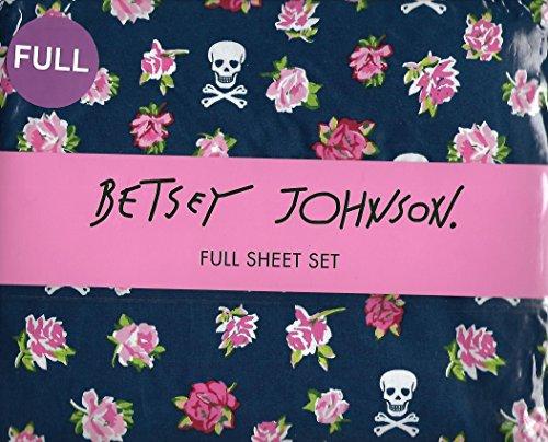 Betsey Johnson Rose Rebellion Skull Blue Full 4 Piece Sheet Set (Betsey Johnson Lily)