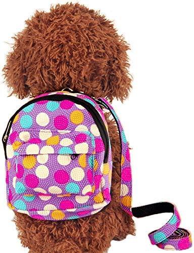 Porlik Dog Backpack HarnessLeash Set Multicolor Dots Backpack Design Outdoor Rucksack Zipper Daypack Fits to Small Medium Dogs.