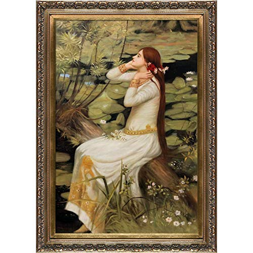 (overstockArt Ophelia Framed Oil Reproduction of an Original Painting by John William Waterhouse, Baroque Wood Frame, Antiqued Gold Finish )