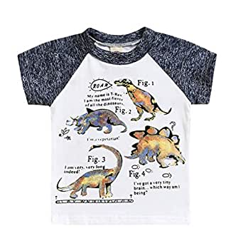 Happy Town Boys Dinosaur Long Sleeve T-Shirts Kid Cartoon Tee Baby Cotton Top Clothes Size 2-7Y (Beige, 12-18 Months)