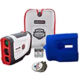 Bushnell 2017 Tour V4 Shift Slope Edition Patriot Pack Golf Laser Rangefinder + 2(two) CR2 Batteries + 1 Custom Ball Marker Clip Set (American Eagle) + Blue Silicon Skin