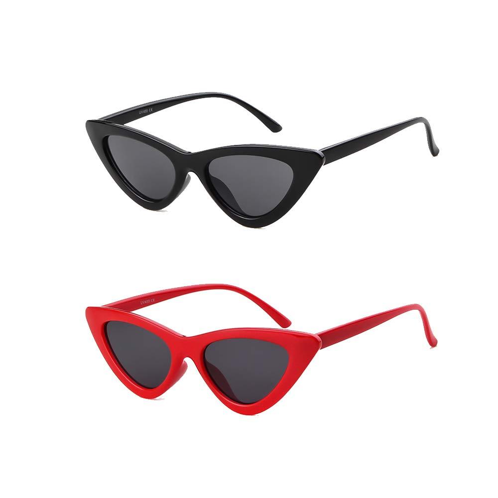 d86ef7fbfd06 Amazon.com: Retro Clout Cat Eye Sunglasses Clout Goggles Vintage Kurt  Cobain Sunglasses Women Mod Glasses (2 Pack Black+Red, 51): Clothing