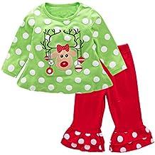 May's Baby Girls Christmas Milu Deer Long Sleeves T-shirts Long Pants 2 pieces sets