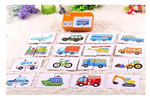 [Baby Infant 32pcs Flash Card Jigsaw cognition puzzle Shape Matching Puzzle Cognitive Learning Early Education Card Learning Toys in a Box - traffic Vehicle Many Cars] (Homemade Halloween Gifts For Students)