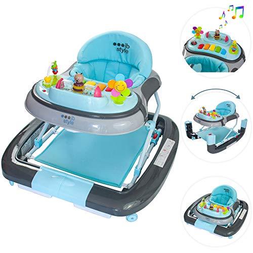 ib style® 3 in 1 loopstoel   loopwagentje   met schommelfunctie   licht en geluid   EN1273:2005   turquoise