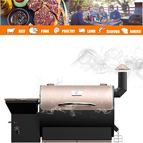Z Grills Wood Pellet Grill & Smoker with Patio Cover,700 Cooking Area 7 in 1- Grill, Smoke, Bake, Roast, Braise and BBQ with Electric Digital Controls for Outdoor (Black and Bronze) by Z Grills (Image #2)
