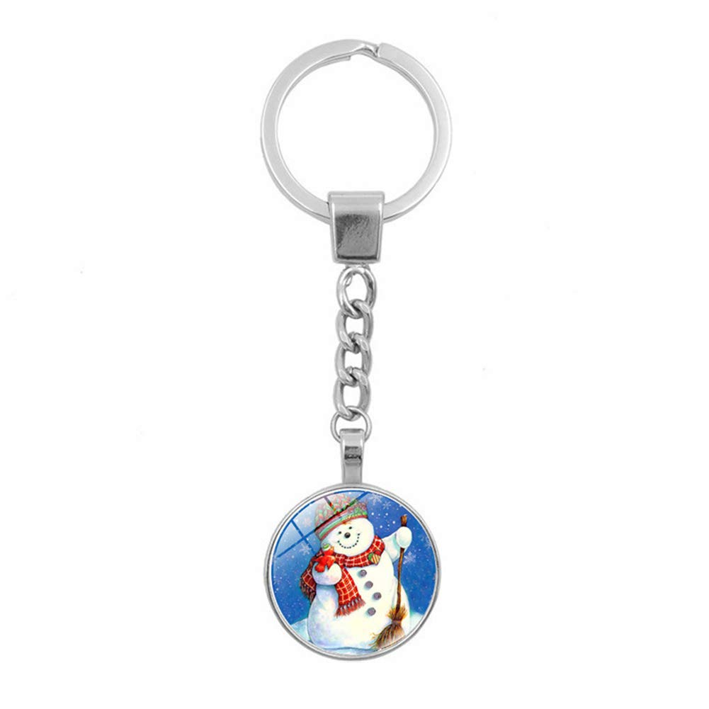 Finance Plan Big Promotion Santa Claus Round Glass Pendant Keyring Key Chain Handbag Decor Christmas Gift 11#