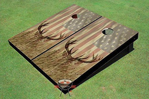 American Flag With Deer in the Grass Custom Cornhole Boards