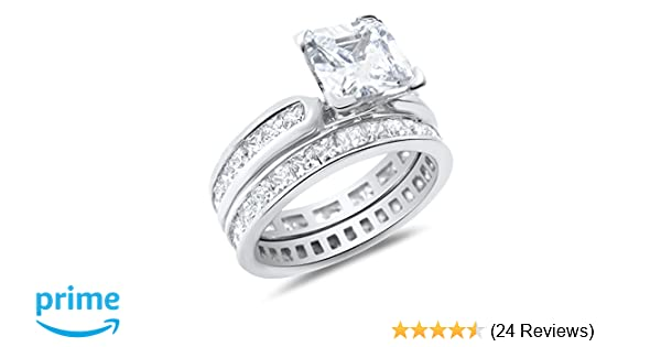 Engagement Ring Vs Wedding Ring.Princess Cut White Cz Wedding Band Engagement Ring Set In 925 Sterling Silver
