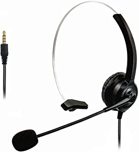 3.5mm Cell Phone Headset for Computer Laptop PC Tablet, Computer Headphones with Microphone for iPhone Android Skype Webinar Business Office Call Center, Clearer Chat, Extra Comfort
