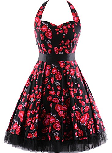 OTEN Women's Vintage Halter Floral 50's 60's Retro Rockabilly Sewing Cocktail Prom Dresses (Valentines Party Dresses)