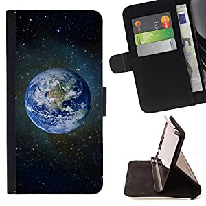 DEVIL CASE - FOR Apple Iphone 6 PLUS 5.5 - Planet Earth Blue Space Stars Universe Cosmos - Style PU Leather Case Wallet Flip Stand Flap Closure Cover