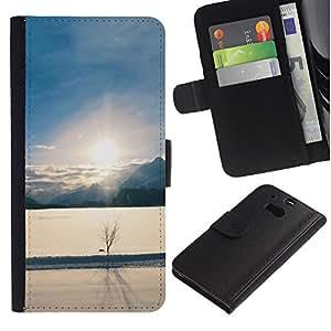Planetar® Modelo colorido cuero carpeta tirón caso cubierta piel Holster Funda protección Para HTC One M8 ( Winter landscape )
