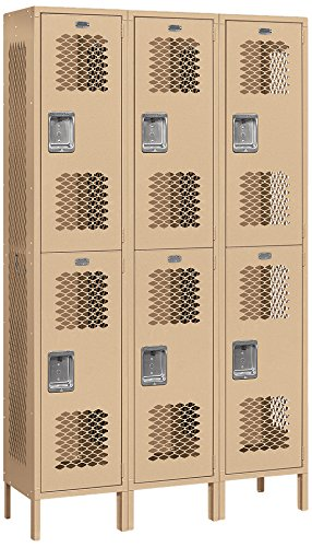 Salsbury Industries Assembled 2-Tier Extra Wide Vented Metal Locker with Three Wide Storage Units, 6-Feet High by 15-Inch Deep, Tan