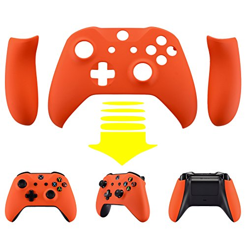 eXtremeRate Orange Soft Touch Faceplate Cover, Front Housing Shell,Soft Grip Side Rails for Microsoft Xbox One X & One S Controller - Orange Housing