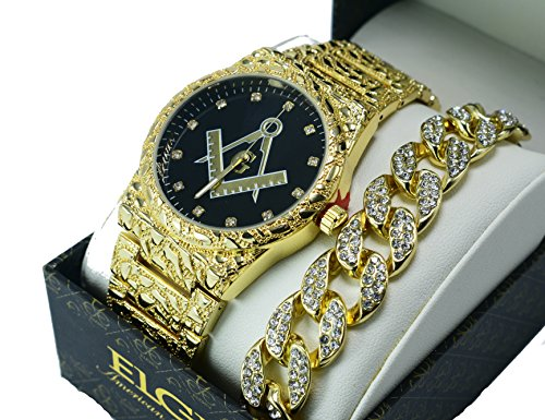 Men's Luxury Iced Out 14K Gold Plated Metal Band Rapper's Bling Watch and Miami Cuban Bracelet(Freemason Nugget)
