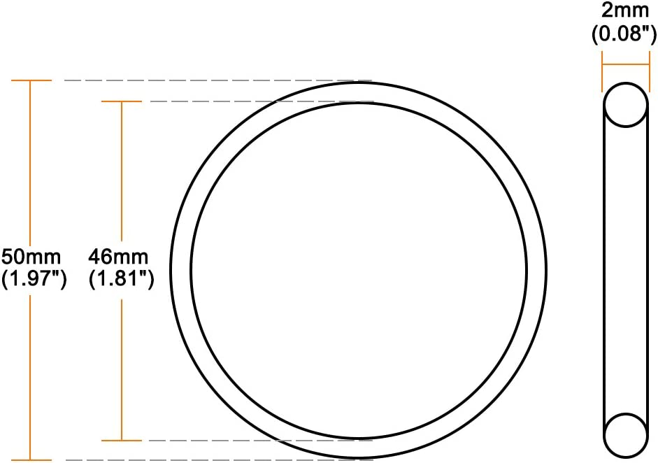 62mm OD 58mm Inner Diameter Pack of 1 Round Seal Gasket sourcing map O-Rings Fluorine Rubber 2mm Width
