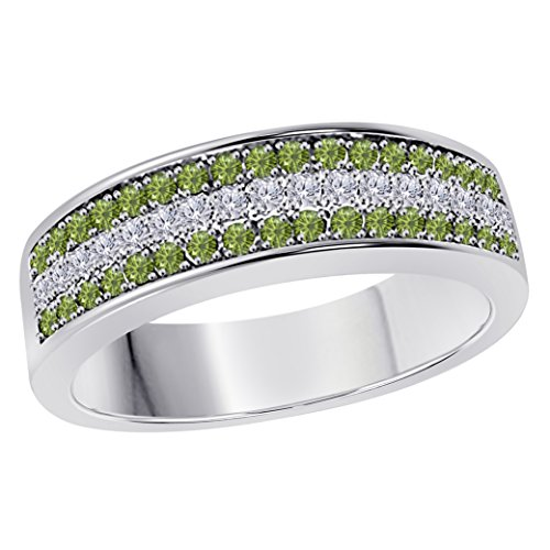 DreamJewels 6MM 14K White Gold FN Alloy 0.50CT Green Tourmaline & White Cz Diamond Ring 3 Row Pave Men's Hip Hop Anniversary Wedding Band Ring Size All Available by DreamJewels