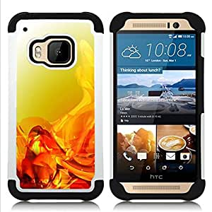 - liquid fluid orange gold bright/ H??brido 3in1 Deluxe Impreso duro Soft Alto Impacto caja de la armadura Defender - SHIMIN CAO - For HTC ONE M9