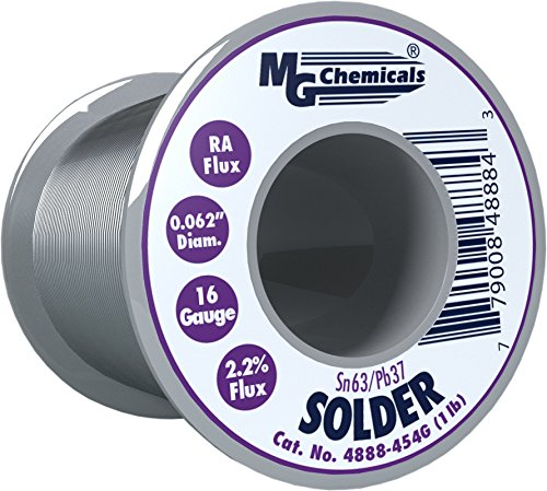 1 Solder Lb Spool - MG Chemicals 63/37 Rosin Core Leaded Solder, 0.062