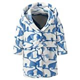 Dream_Mimi Flannel Hooded Straps Children's Printed Bathrobe Children's Cute Printed Towel Pajamas(Blue)