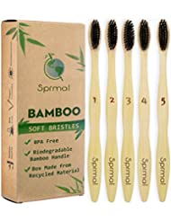 Sprmal Eco-Friendly Natural Bamboo Charcoal Toothbrush-Pack of 5,Individually Numbered,Zero Plastic Packaging,Biodegradable Organic Bamboo Handle and BPA Free Soft Nylon Bristles for Sensitive Gums