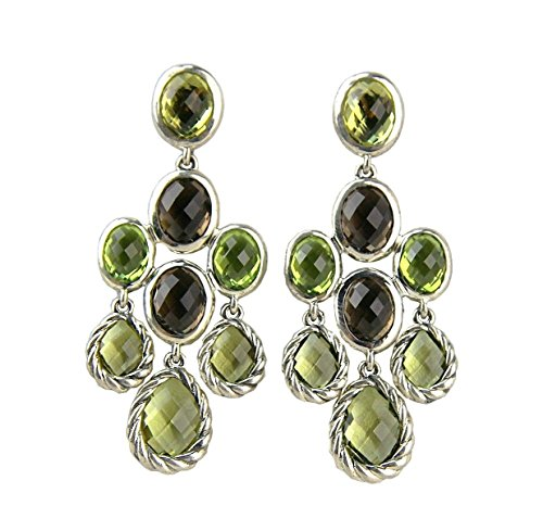 DAVID YURMAN STERLING SILVER CHANDALIER DANGLING PERIDOT EARRINGS NEW BOX # 14E by David Yurman