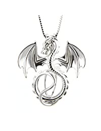 LGSY 3PCS 925 Sterling Silver Dragon Shape cage pendant Without chain