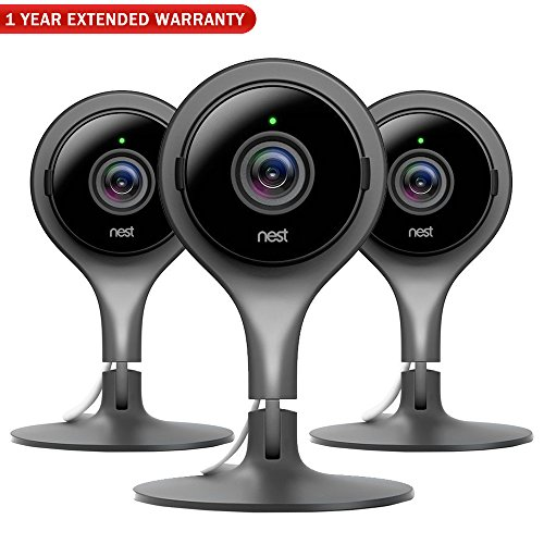 Nest NC1104US Indoor Security Camera (Pack of 3) + 1 Year Extended Warranty -  E9NESCAM3PK