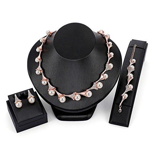 STI-JEWELS Bridal Teardrop Pearl Necklace Earrings Bracelet Set Rose Gold Jewelry Sets for ()