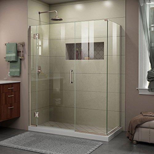 DreamLine Unidoor-X 57 in. W x 34 3/8 in. D x 72 in. H Frameless Hinged Shower Enclosure in Brushed Nickel, E1292234-04 (Semi Hinged Door Frameless)