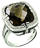 RB Gems Sterling Silver 925 STATEMENT Ring GENUINE GEMSTONE Cushion 20 Cts with Rhodium-Plated Finish (12, smoky-quartz)