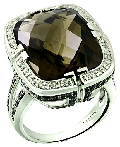 Cushion Checkerboard Smoky Cut Quartz (RB Gems Sterling Silver 925 STATEMENT Ring GENUINE GEMSTONE Cushion 20 Cts with Rhodium-Plated Finish (5, smoky-quartz))