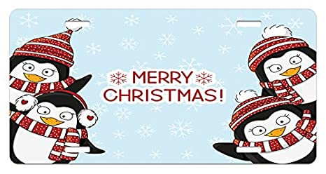 christmas license plate by ambesonne new year quote cute penguins with hats and scarf snowflakes