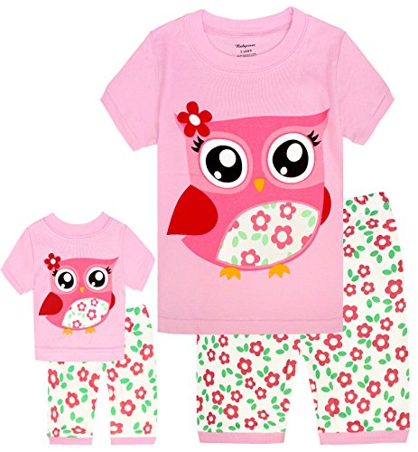 Girls Matching Doll&Toddler Owl 4 Piece Short Cotton Pajamas Kids Clothes Sleepwear 8 (Clothes Kids Cotton)
