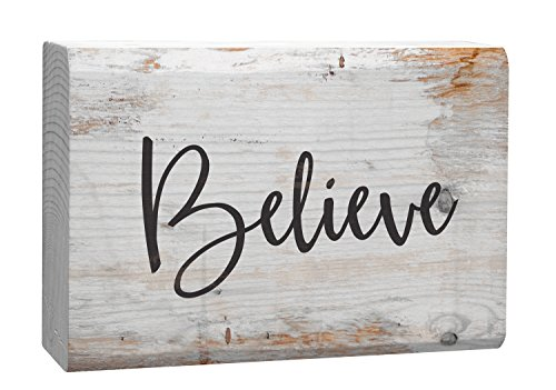 P. Graham Dunn Believe Grey Script White Wash 4 x 5 Inch Solid Pine Wood Barnhouse Block -