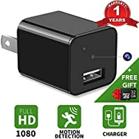 Hidden Spy Camera - 32GB Included - 1080P HD USB Wall Charger Hidden Spy Camera - Nanny Spy Camera Adapter - Can Charge Phones - Premium Set - IMPROVED 2018