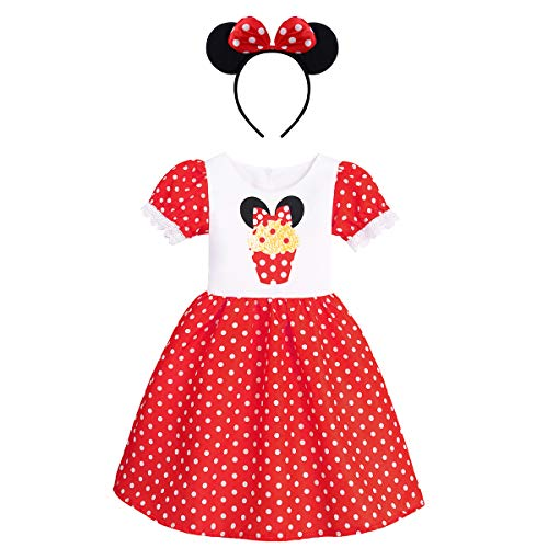Kids Girls Polka Dots Princess Dress Cake Print Cosplay Fancy Minnie Costume Birthday Party Outfits Halloween Bowknot Leotard Ballet Dance Tutu Gown Dress up+ Mouse Ears Headband Cake Red 4-5 Years