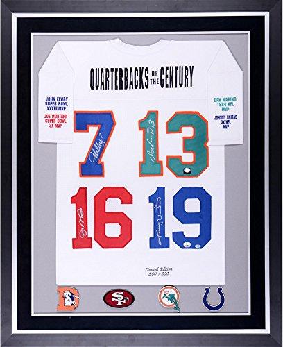 Joe Montana, John Elway, Dan Marino, & Johnny Unitas Quarterbacks of the Century Autographed Deluxe Framed Stats Jersey - Fanatics Authentic Certified