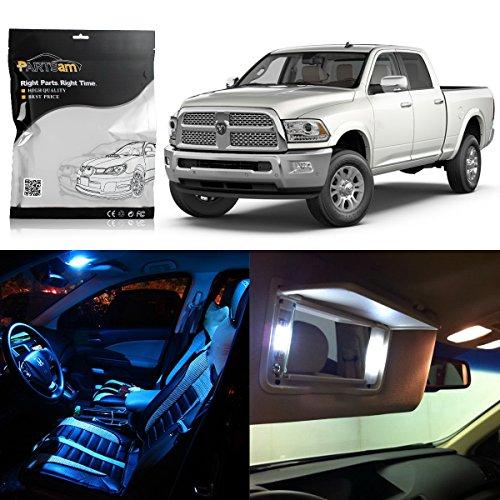 Partsam 2010-2017 Dodge Ram Ice Blue Interior LED Package Kit + White License Plate Light (7 Pieces)