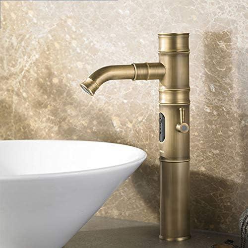 アンティーク手動および自動家庭用統合カウンタートップ洗面蛇口、ホットとコールドの真鍮流域の蛇口,M