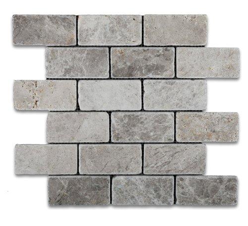 Silverado Gray 2X4 Marble Tumbled Mosaic Tile ()