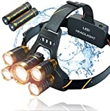 Headlamp, MsForce Headlight Flashlight with USB Rechargeable Batteries, Bright 12000 Lumen LED Head Lamp. Waterproof Zoomable Work Lights for Hardahts. Head Lights for Camping, Fishing, Hiking, Biking