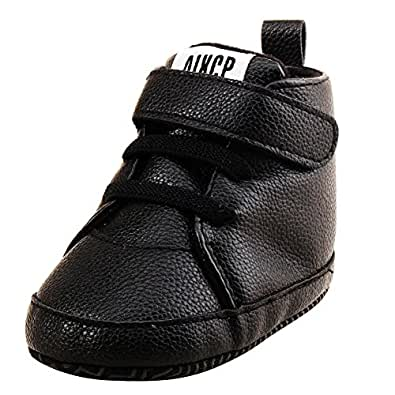 Weixinbuy Baby Boys' High Top Sneaker Shoes 0-6 Months/4.33inch Black