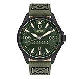 AVI-8 Men's 'Hawker Harrier II' Quartz Stainless Steel and Leather Aviator Watch, Color:Green (Model: AV-4063-04)