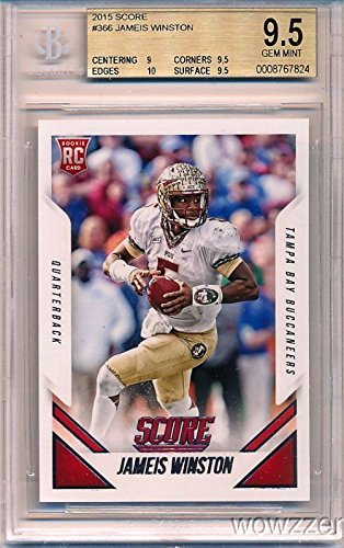 Jameis Winston 2015 Score #366 ROOKIE Card Graded BGS 9.5 GEM MINT! Awesome Super High Grade RC Card of Tampa Bay Buccaneers #1 NFL Draft Pick! Shipped in Ultra Pro Graded Card Sleeve to Protect it !